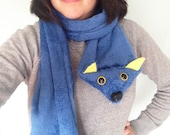 Navy Cuddle Fleece Wolf Scarf- Yellow Inner Ears and Eyes