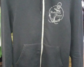 Unknown Artist Anchor Logo Zipper Hoodie Sweatshirt American Apparel Black Unisex   XS