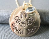 Hand Stamped Mommy Jewelry - Personalized Gold Necklace with Baby Feet - New Mommy/Baby Gift