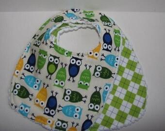 Baby Boy Bibs-Urban Zoologie Owls by Robert Kaufman- Ready To Ship