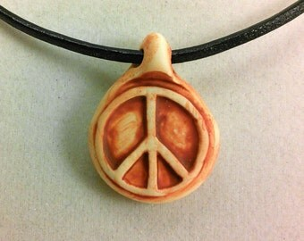 Peace Symbol Rustic Clay Pendant Necklace On Leather Cord--RUST COLOR