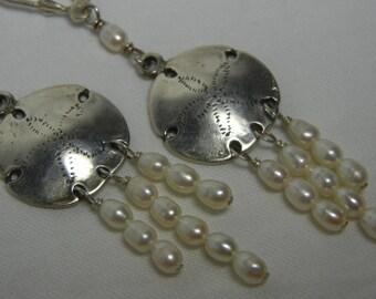 Sterling Silver Sand Dollar Earrings White Pearl Chandelier Drops Dangles
