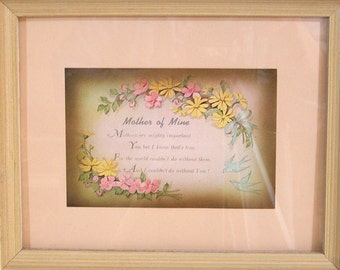 Vintage Framed Print and Poem, Mother of Mine, Floral Motif