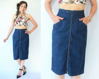 Vintage 80's ZIPPER FRONT Denim High Waist Pencil Skirt / Midi Tea Length