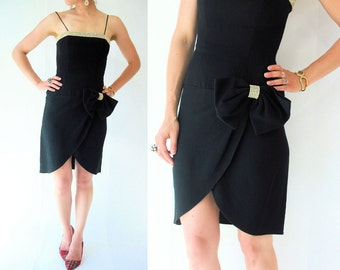 SALE...TULIP SKIRT Dress vtg 80's Julie Duroche Black Spaghetti Strap Dress w/ Big Bow Rhinestone Accent