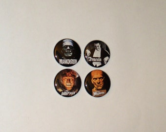Classic Monster 1 inch  Button / Pin / Badge Set