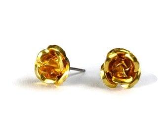 Dark yellow aluminum rose flower hypoallergenic studs earrings (233) - Flat rate shipping