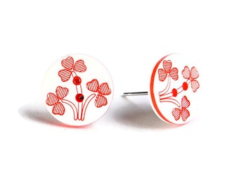 Petite red and white flower button hypoallergenic stud earrings (757) - Flat rate shipping