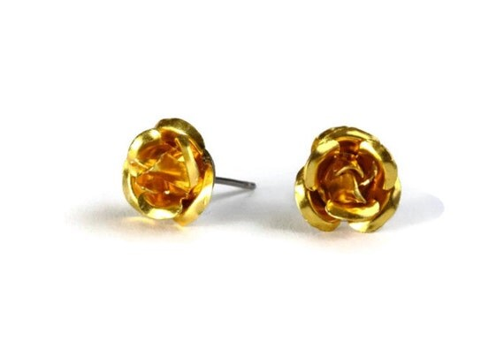 Dark yellow aluminum rose flower hypoallergenic studs earrings (233) - Flat rate shipping