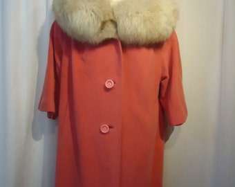 Vintage Pink Wool Coat with Fox Fur Collar Plus Size Ehrenberg Brothers San Francisco