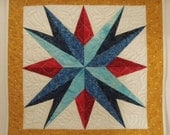 Mariner's Compass Star patchwork wall quilt or table topper, by MooseCarolQuilts