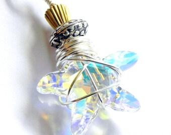 Swarovski Crystal Starfish Aurora Borealis Pendant - Silver and gold metal beads
