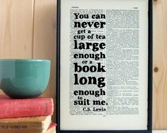 CS Lewis Quote Tea and Book vintage dictionary print typographic art