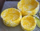 Nesting Bowls, Crochet bowls, Storage, Yellow and White