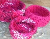 Nesting Bowls, Crochet bowls, Storage, Hot Pink