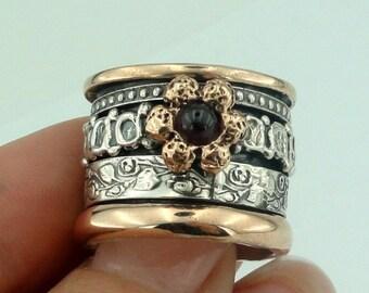 WOMEN ISRAELI 9k Rose Gold & 925 Sterling Silver Garnet Swivel Band Ring size 8