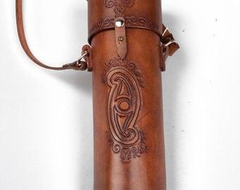 Hand tooled brown leather scrollcase wine bottle holder carrier bag larp Game of Thrones ren faire sca dusk till dawn supernatural costume