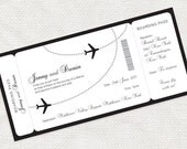come fly with me boarding pass wedding invitation - printable file - aviation, airplane, destination black and white customised