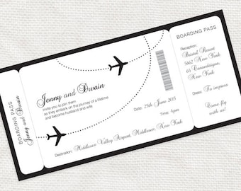 Boarding pass wedding invitation | Etsy