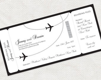 Come Fly With Me Boarding Pass Wedding Invitation   Printable File    Aviation, Airplane,  Plane Ticket Invitation Template