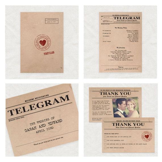 Vintage Telegram Printable Wedding Stationery Set By
