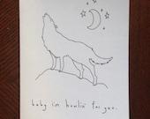 Baby I'm Howlin' For You - Handmade Card