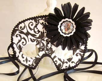 Black and White Damask Masquerade Mask with a Large Flower