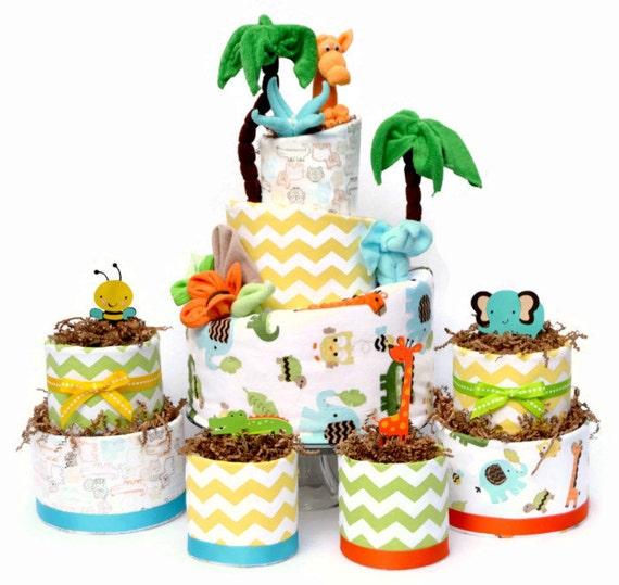 Diaper Cake Decoration, Jungle Baby Shower Centerpieces, Safari Animals Shower, Safari Baby Shower Decor, Jungle Diaper Cakes, Neutral