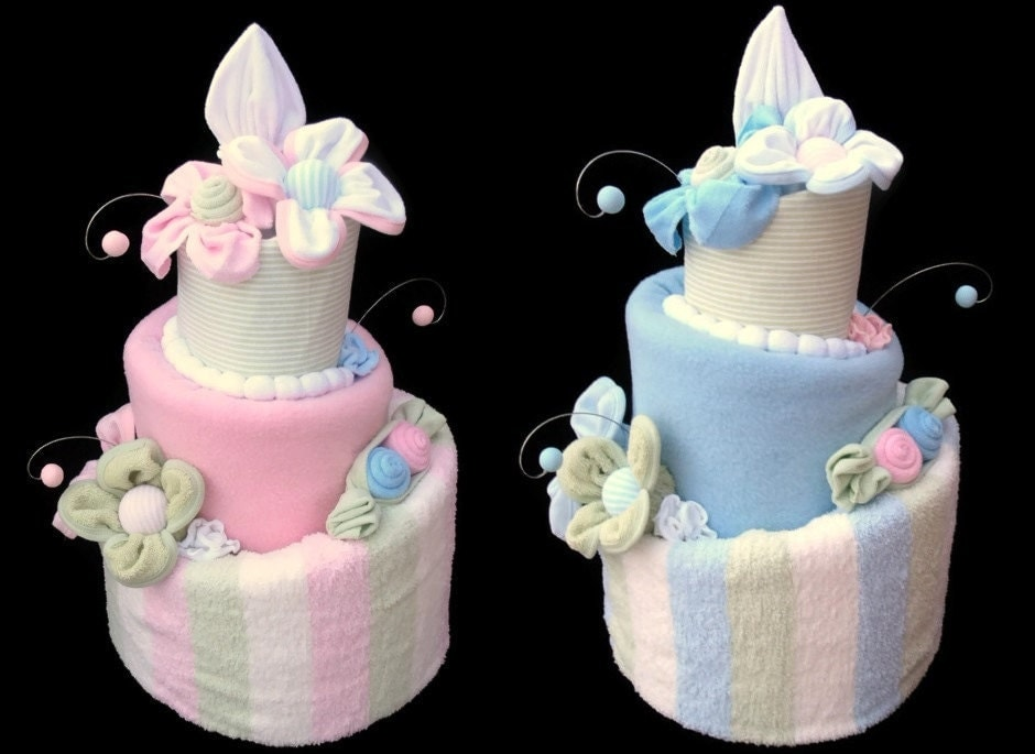 Twin baby shower diaper cakes boy and girl two by for Baby shower decoration ideas for twin boys