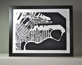 south boston hand cut map, 11x14