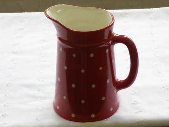 red with white polka dots pitcher vase vintage style new