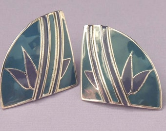 Vintage L BOTT Modernist Retro Earrings / Abstract Earrings / Blue Green Enamel Silver Earrings / Designer Signed / Pierced Earrings /Enamel