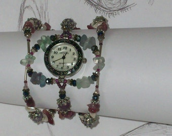 Victorian Style Watch, Beaded Gemstone Watch,  Pearl Watch, Crystal Watch, Bracelet Watch,Tourmaline,  Fluorite,  7 1/4 inches