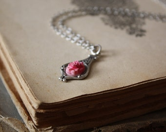 Fairy Tale Jewelry, Beauty and the Beast Necklace, Rose Necklace