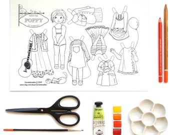 Paper Doll ~ Poppy - a jpeg file to download, print, color, cut and play with !