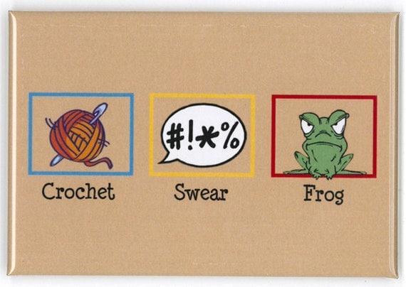 Crochet - Swear - Frog Refrigerator Magnet