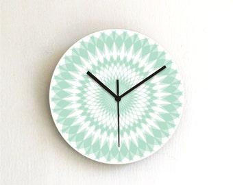 Turquoise Aqua Pastel Geometric Modern Wall Clock