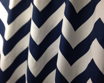 "Two 50"" wide custom made curtain panels drapes, large chevron print zippy zig zag navy blue white"