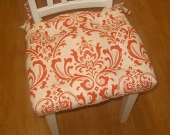 Set of 2, 4, 6, 8 tufted chair pads, seat cushions, bar stool cushions, orange on natural ozborne damask