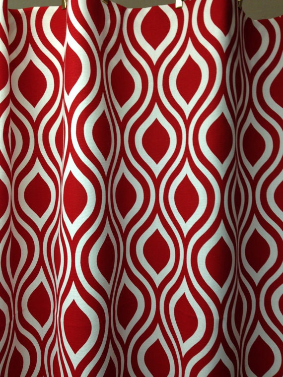 Fabric Shower Curtain Lipstick Red And White By Kirtamdesigns