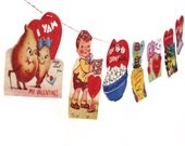 Vintage Valentine Card Garland 2 - photo reproductions on felt - Valentine pun cards - anthropomorphic Valentines