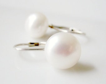Pearl Leverback Earrings, Extra Large Pearl Earrings, White Pearl Earrings, Freshwater Pearl, Lever Back Earrings, Real Pearl, Genuine Pearl
