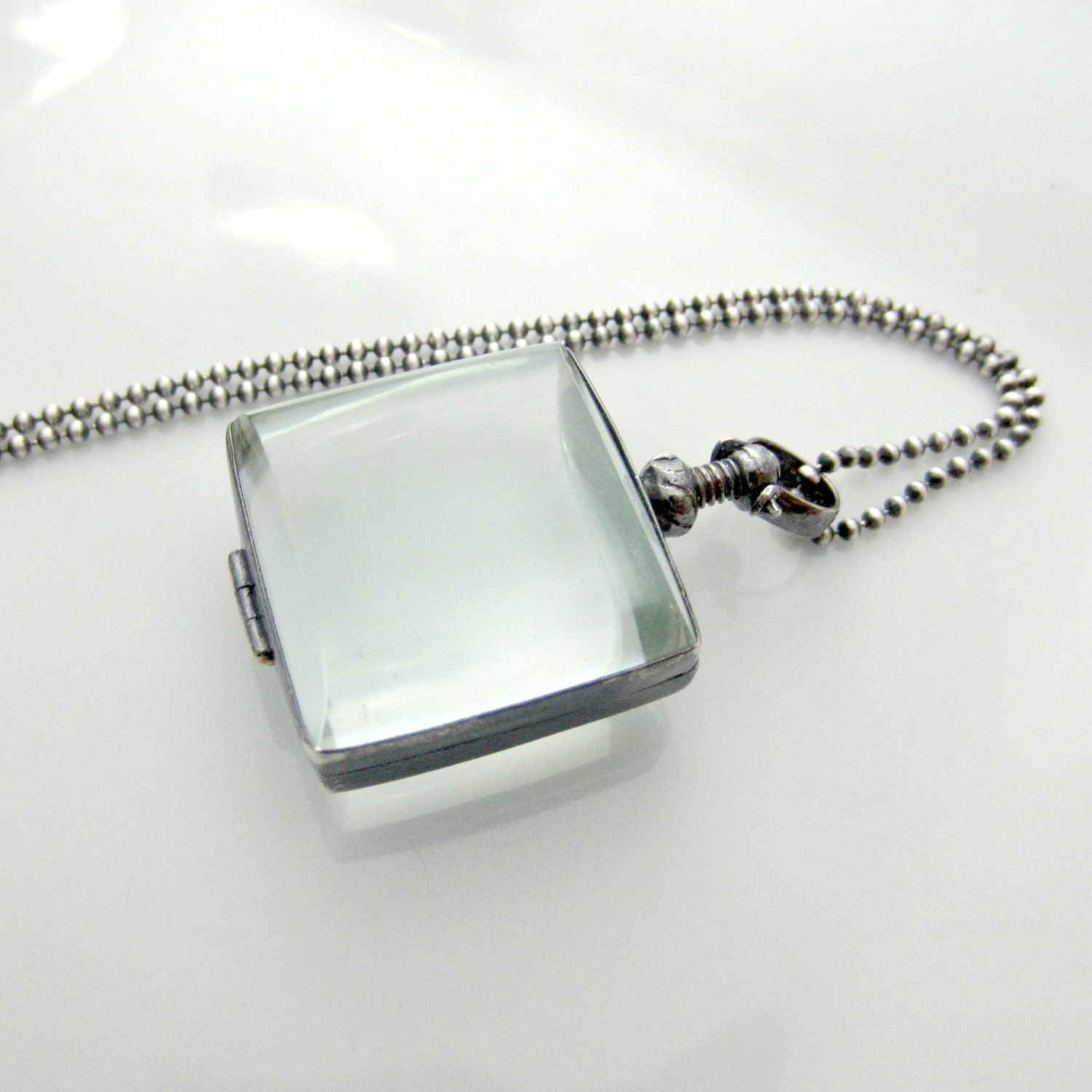 clear glass locket necklace glass photo locket oxidize