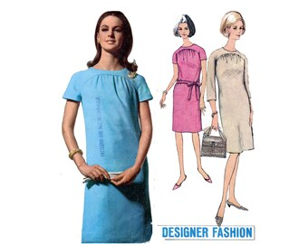 1960s Straight Dress Pattern Curved Yoke Short Kimono Sleeves Ruched Front Designer Fashion Simplicity 6485 Bust 32 Vintage Sewing Pattern