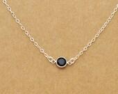 dainty sterling silver necklace, TINY JET, jet black glass crystal necklace, simple delicate, everyday wear, minimalist,
