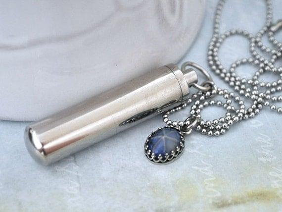 Secret message bottle tube container necklace vintage blue for Pill bottle jewelry