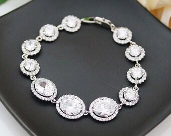 Wedding Jewelry Bridal Bracelet Bridal Jewelry Bridesmaids Gift Bridal Bracelet Bridesmaid Bracelet Cubic Zirconia Oval Halo Style Bracelet