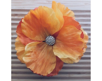 poppy upcycled vintage button corsage flower cuff- orange and yellow poppy corsage cuff- vintage rhinestone button center