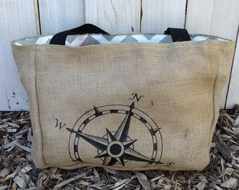Eco-Friendly Nautical Compass Rose Market Tote Bag, Handmade from a Recycled Coffee Sack