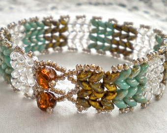 Bracelet Turquoise Green SuperDuos Beadweaving Hand Stitched